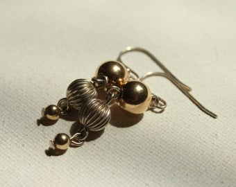 Silver and Gold Dangle Earrings