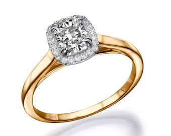 1.25 TCW Cushion Cut Halo Engagement Ring, 14K Rose Gold Ring, Halo Ring Setting, Natural Diamond Ring, Cushion Cut Ring