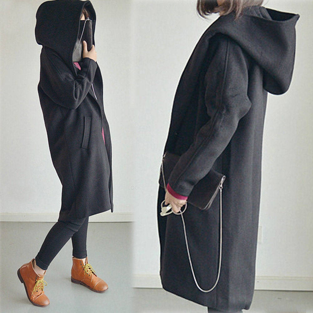 316-Women&39s Sorcerer Hooded Cashmere Coat Black Wool by EDOA