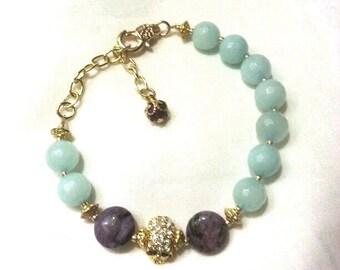 Light Blue and Purple Beaded Gold Skull Bracelet