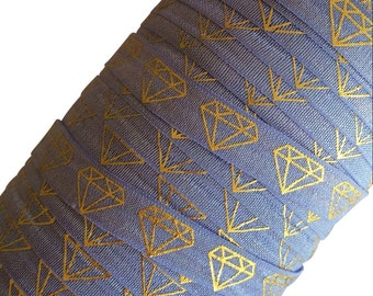 "Iris with Gold Metallic Diamond Pattern 5/8"" Fold Over Elastic by the Yard - 1, 3 or 5 yards"