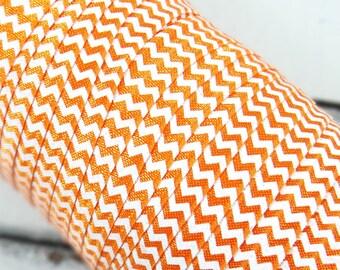 "Orange with White Ink Chevron 5/8"" Fold Over Elastic 1, 3 or 5 yards"