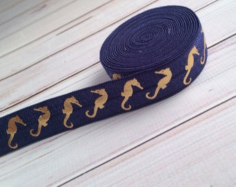 "Navy Blue with Gold Metallic Seahorses 5/8"" Fold Over Elastic - 1, 3 or 5 yards"
