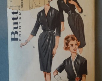 1960s Butterick #9203 Cross Over Bust Wrap Dress Pattern 42 Bust
