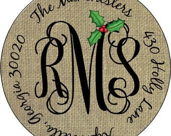 Christmas Burlap Mongram and Holly Leaf Personalized Round Address Labels Stickers for Gifts Party Favors Class Favors