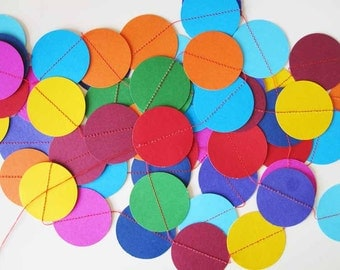 3 metres of Cardstock Dot Confetti Circle Garland in Rainbow Colours 3 Metres for Parties & Decoration