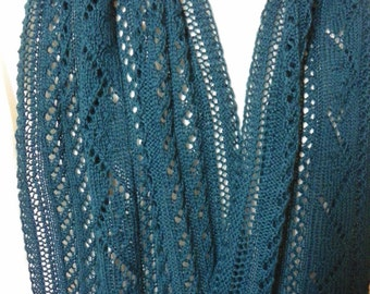 Hand Knit Deep Blue Lace Wool Scarf