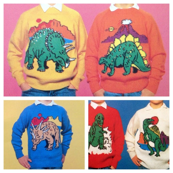 dinosaur jumper knitting pattern sweaters for children and