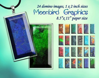 GEMSTONE -  Digital Collage Sheet – 1 x 2 inch domino- Printable Download for Pendants, Earrings, Charms