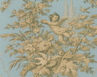 Wallpaper Neoclassical Urn and Floral Toil on Light Green