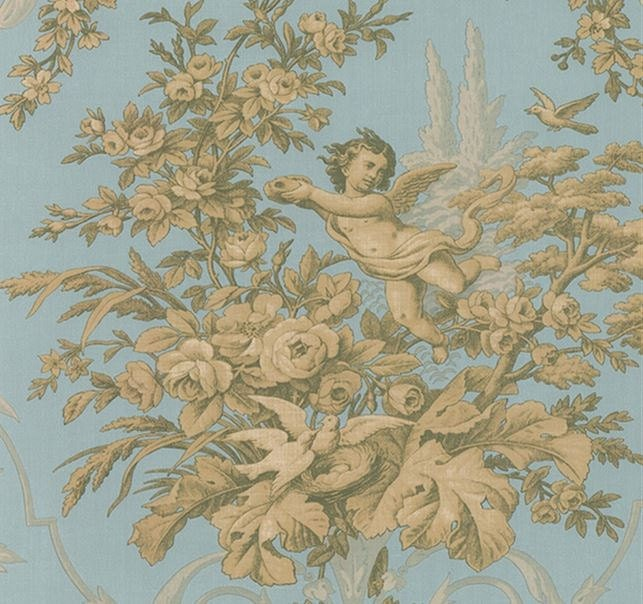 Wallpaper Traditional Cherub And Floral Toile In Gold And