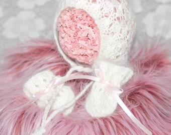 Angora Newborn Bonnet and Mittens