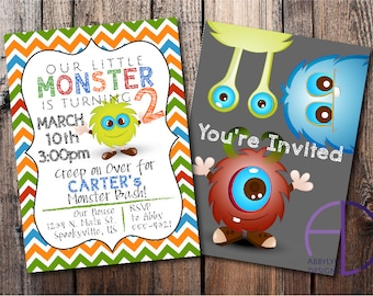 Little Monster Invitation Monster Birthday Party Invitation Custom Printable Invitation