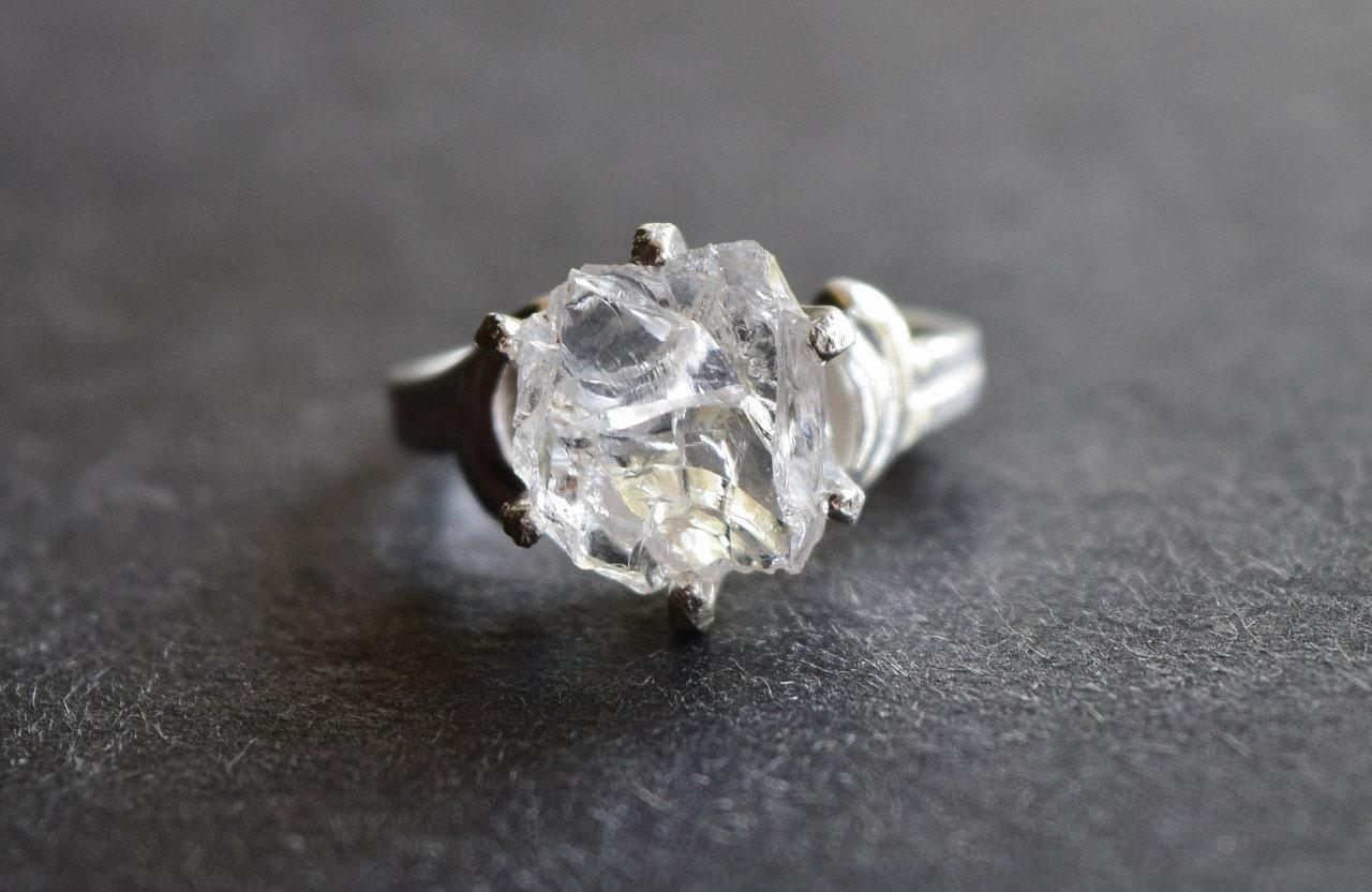 Raw Diamond Engagement Ring Rough Uncut Diamond Wedding Band
