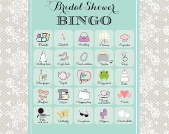 Printable Bridal Shower Bingo, 40 unique game cards in robin's egg blue, Instant download