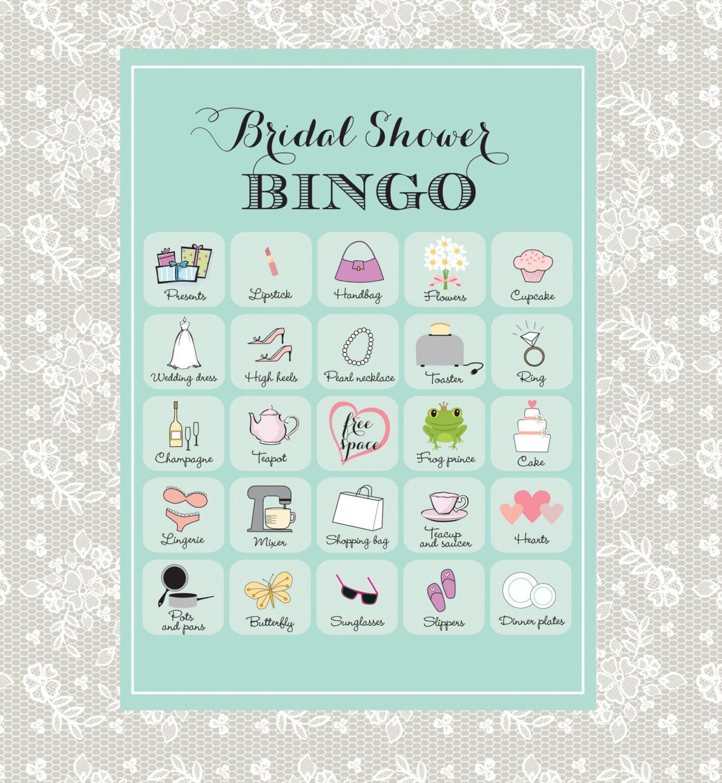 Printable Bridal Shower Bingo 40 Unique Game Cards In
