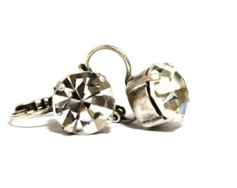 10mm Clear Antique Silver Leverback Earrings made with Preciosa Elements
