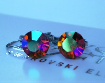 Surgical Steel Topaz AB Leverback Earrings made with Preciosa Crystal Elements by LadyCJewellery