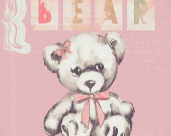 teddy bear art print for girls, Kids wall art - baby nursery decor - nursery wall art - children wall art -