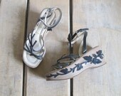 PRADA vintage 90s BOHO leather vine leaf & Floral Wedges platform sandals shoes 37