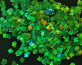 solvent-resistant glitter shapes-holo green clovers