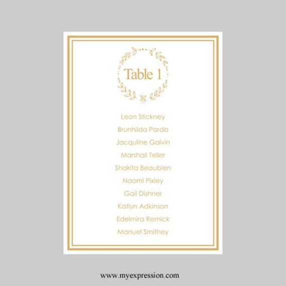 wedding seating chart template 5x7 elegant wreath gold. Black Bedroom Furniture Sets. Home Design Ideas