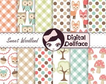 Woodland Animal Digital Paper, Owl & Fox, Forest Scrapbook Paper Pack