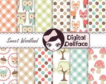 Woodland Animal Digital Paper, Owl & Fox, Forest Scrapbook Paper Pack