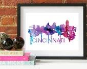 Cincinnati Skyline, Cincinnati Ohio Cityscape Art Print