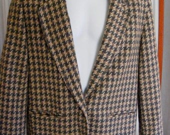 Wool Houndstooth Blazer Vintage Misses' by Alfred Dunner Size 12 Sports Coat
