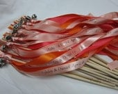 50 Personalized Wedding Wands Triplestreamers with bells. Ribbons and/or lace your choice of colors