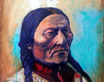 Original Chief Sitting Bull Painting Lakota Native American Indian Art