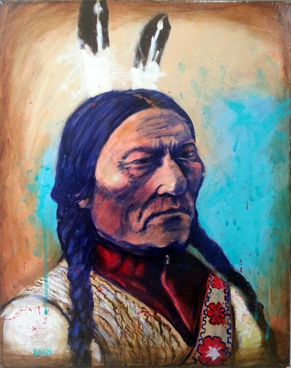 original chief sitting bull painting lakota native by chrisbahnart. Black Bedroom Furniture Sets. Home Design Ideas