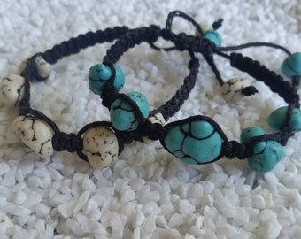 Blue Howlite macrame bracelet - black dyed natural hemp - adjustable closure