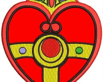 "4.8"" Kawaii red cosmic heart locket compact Embroidered Iron on patch retro superhero cartoon"