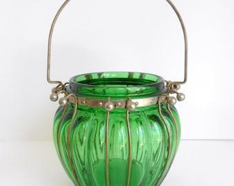 Green Glass Candle Lantern in Metal Frame