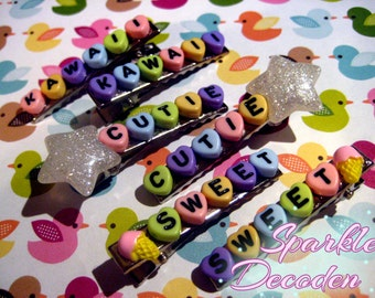 Pastel Rainbow Phrase Hair Clips - Pick your pair