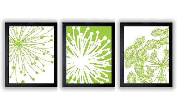 Lime Green White Flower Print Flowers Dandelion Set Of 3 Art