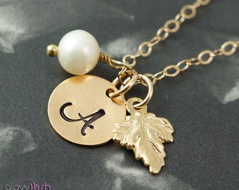 Gold initial necklace, Leaf jewelry, Fall wedding, Bridesmaid gifts, Stamped necklace, Leaf charm, Personalized gifts