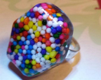 Real Sugar Sprinkles Handmade Resin Ring