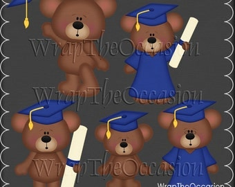 Yellow/Blue Graduation Bears Clipart