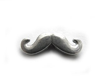 10 Silver Moustache Beads  - Mustache