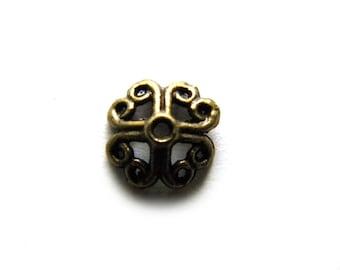 20 Bronze Bead Caps - 8mm
