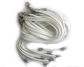 5 White Suede Necklaces 3mm Wide