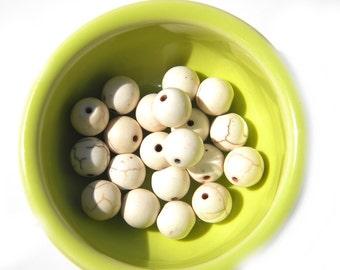 10 White Magnesite Beads - 10mm