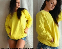 Vintage Comfy Long Sleeve Bright Yellow Big Pocket