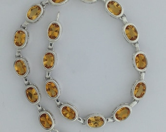 Natural Citrine Sterling Silver Bracelet