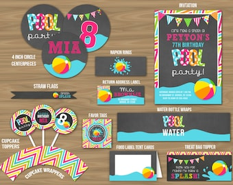 Chalkboard Pool Party Ultimate Party Package - Printable