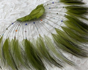 "Green Half Circle Feather Applique with Beads, Millinery Feather Applique by 1 pc, 9""W x 5""H, Green, Royal Blue, Red, TFP-AP5117"