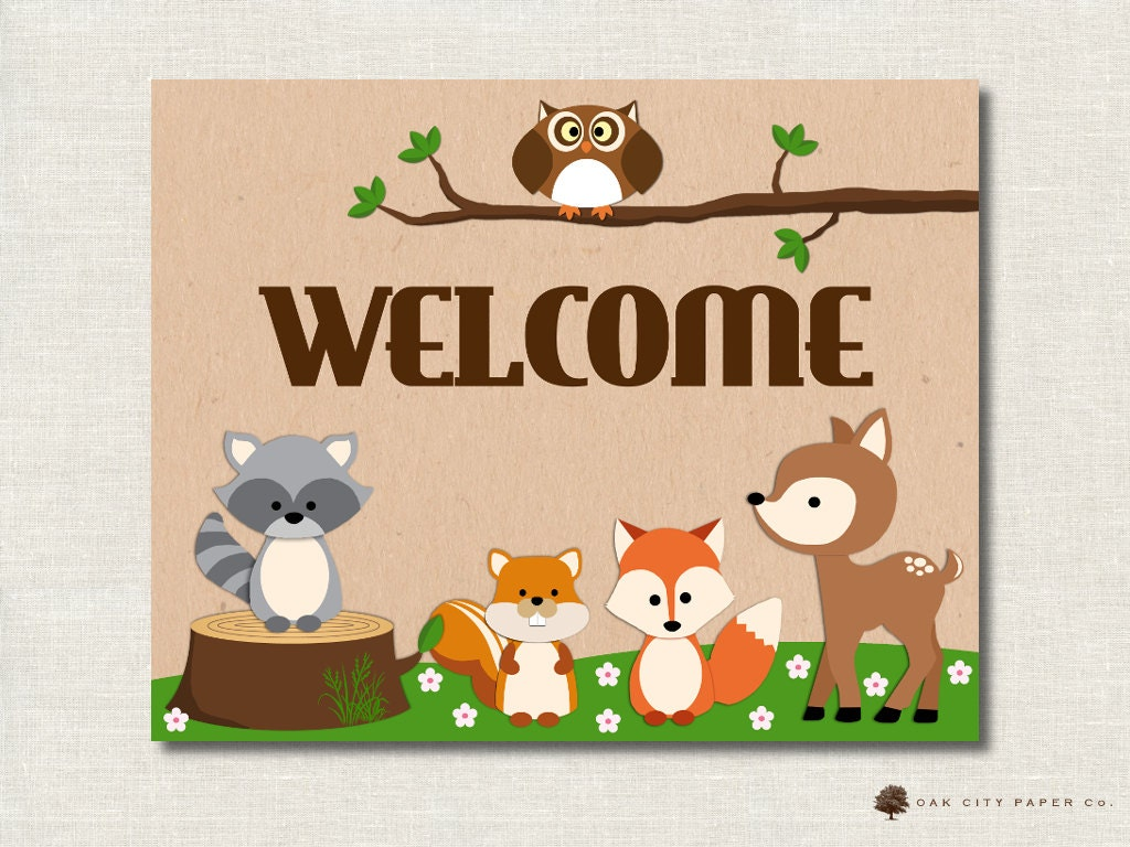 woodland animal baby shower welcome sign by oakcitypapercompany